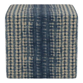 Cube Ottoman in Shibori For Sale