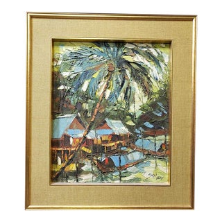 1960s Vintage Sujarit Hirankul Impressionist Inspired Oil Painting For Sale