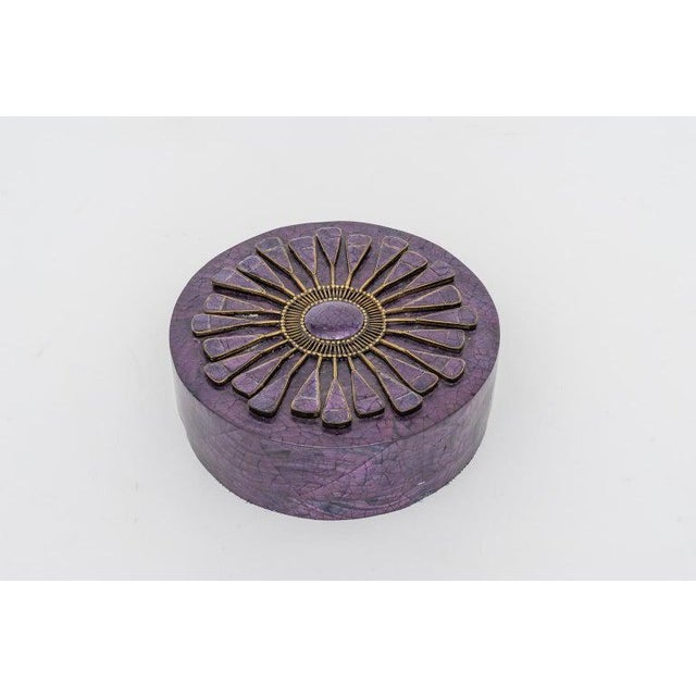 This stylish and chic aubergine colored penshell box was acquired from a Palm Beach estate and it was created in the 1990s...