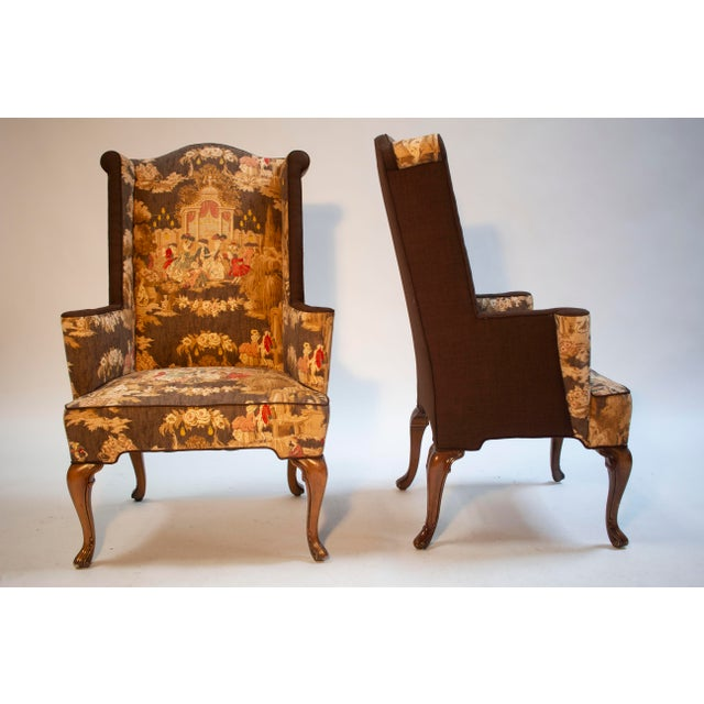 American Colonial Wingback Chairs - a Pair For Sale - Image 3 of 3