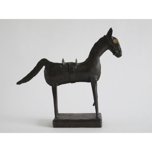 This sculpture is in a Brutalist-style with rough steel in the form of a horse. There is no signature is found on this...