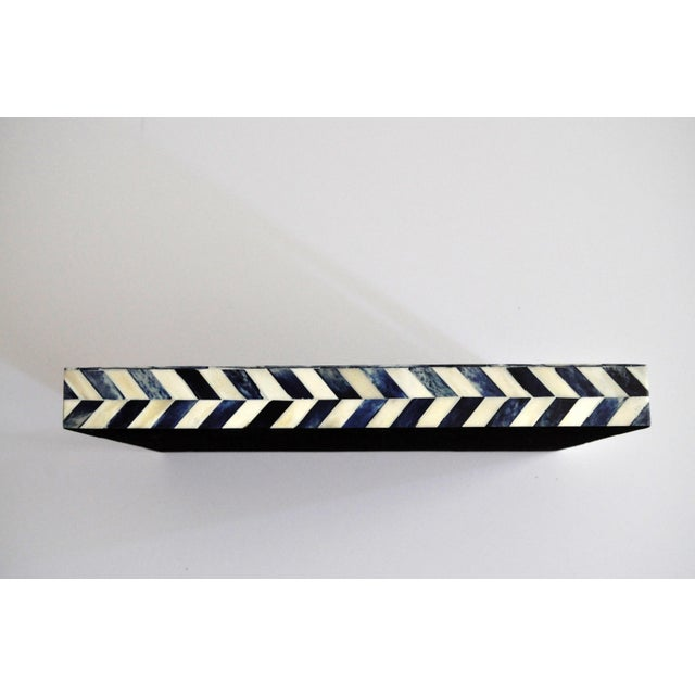 Mr Brown Susanna Chevron Bone Tray in Blue and Ivory For Sale - Image 4 of 6