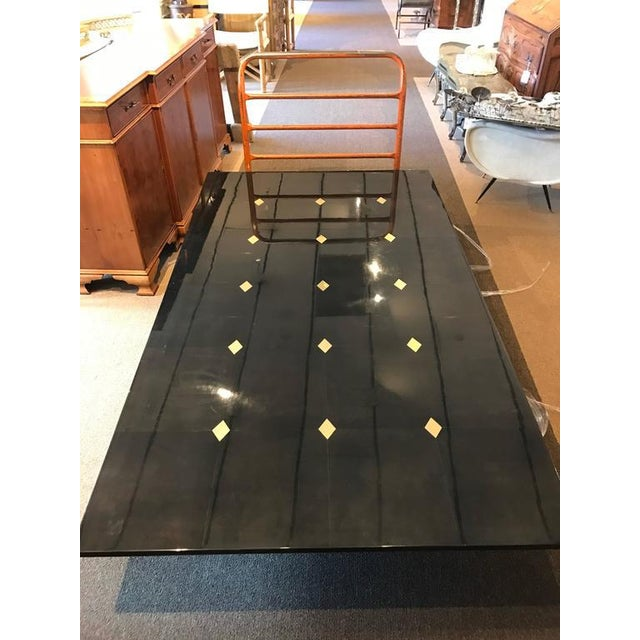 "Stunning Goatskin ""Shagreen"" Lacquered Dining Table For Sale - Image 5 of 8"