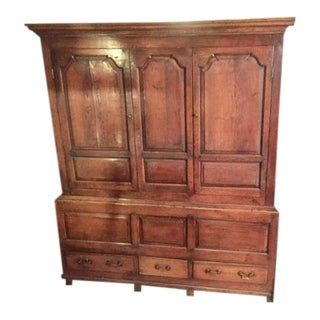 18th Century English Walnut Tank Cabinet With Drawers For Sale