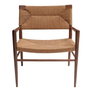 Hand Woven Rush and Walnut Armchair by Smilow Furniture For Sale