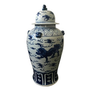 Hand-Painted Blue & White Foo Dog Vase
