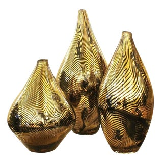 Set of Three Golden Murano Vases