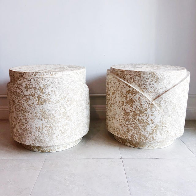 Vintage Sculptural Textured Plaster Cylindrical Pedestal Tables - a Pair For Sale - Image 4 of 9