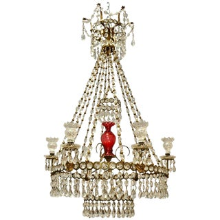 19th Century English Regency Gilt and Cranberry Glass Chandelier