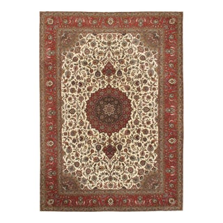 "Pasargad N Y Persian Tabriz Silk & Wool Pile Rug - 8′1"" × 11′6″ For Sale"