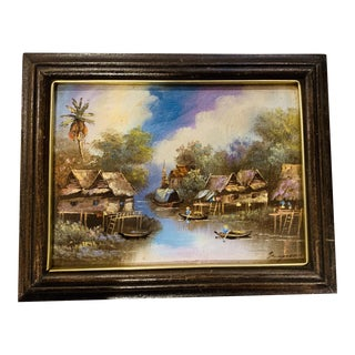 Vintage Mid-Century Asian Water House Scene Oil on Canvas Painting For Sale