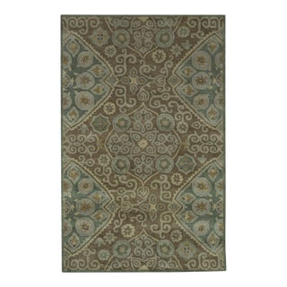 Hand Tufted Brown Wool & Cotton Victoria Rug - 5′ × 8′