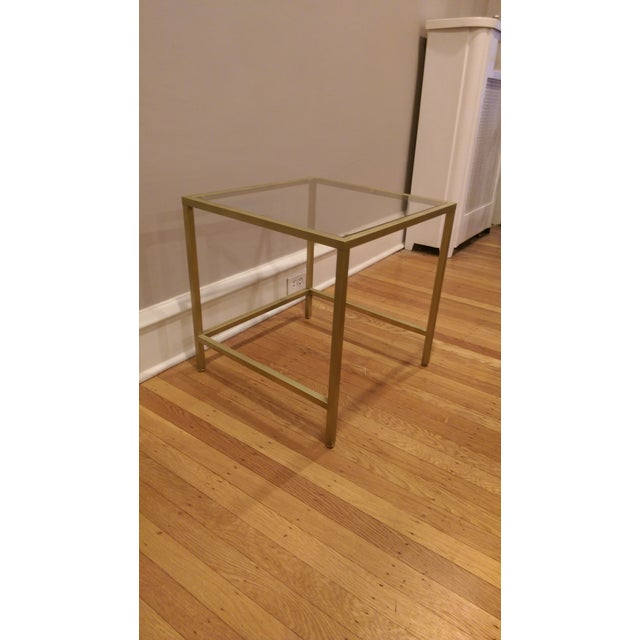 Gold Framed Side Table with Glass Top - Image 6 of 6