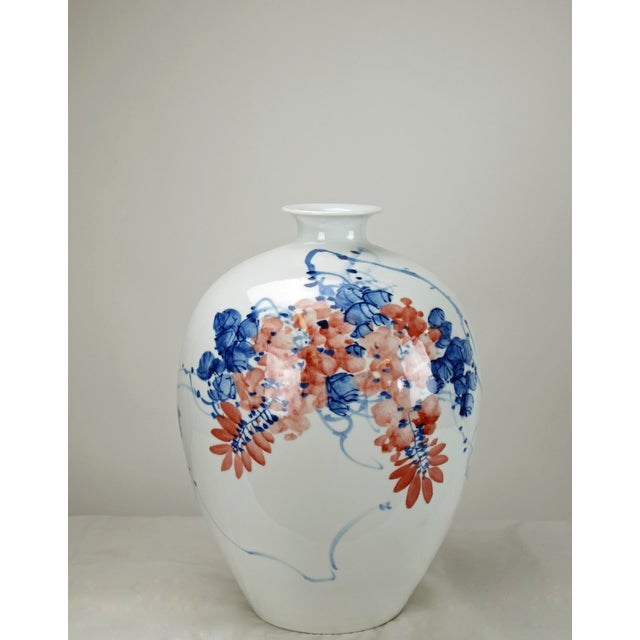 2010s Chinese Red Flower and Blue Vine Detailed White Porcelain Vase For Sale - Image 5 of 6