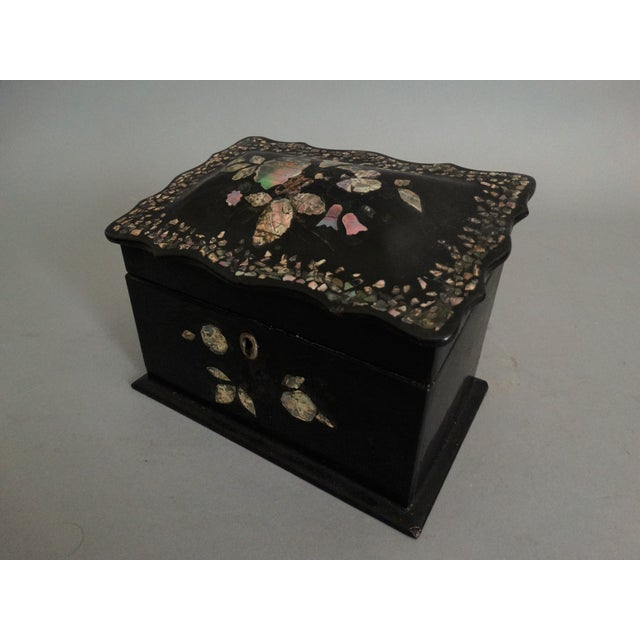 19th-C. English Papier Mache Mother-Of-Pearl Box For Sale - Image 4 of 7