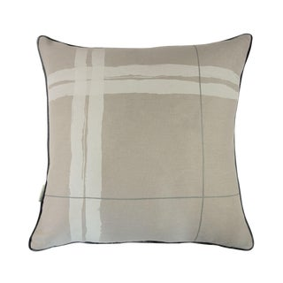 """Brushstroke Plaid Silver Grey 22"""" Pillow For Sale"""