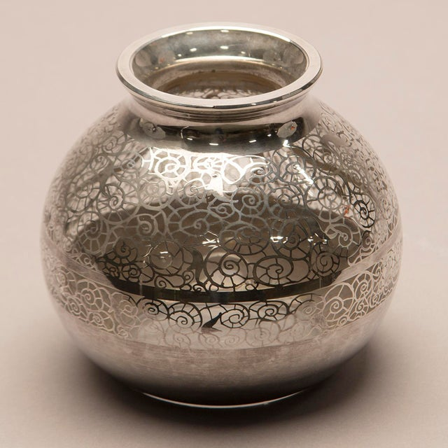 Boho Chic 1950s Round Silver Overlay Vase For Sale - Image 3 of 7