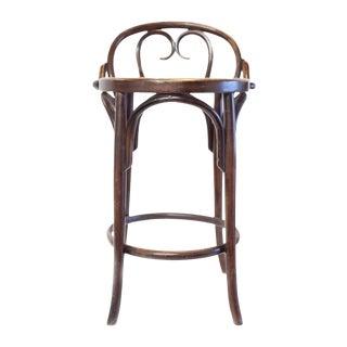 Vintage Thonet Style Bentwood Barstool Caned Seat