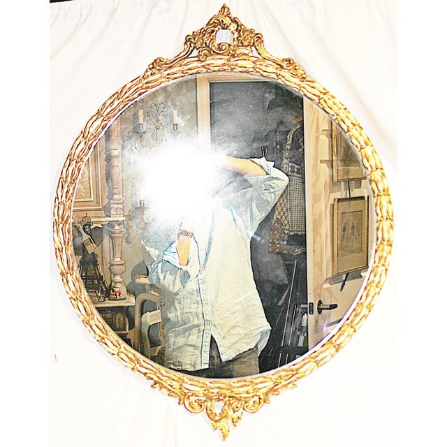 Vintage American Rococo Round Mirror For Sale In West Palm - Image 6 of 7
