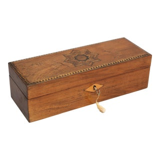 19th-C English Marquetry Box, Lock & Key