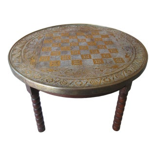 20th Century Mediterranean Chess Table With Chased Metal Top and Turned Legs For Sale