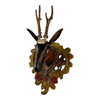 1800s Black Forest Painted Walnut Wood & Antler Deer Wall Plaque For Sale