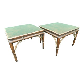 1970s Hollywood Regency Tomlinson Faux Bamboo Tables - a Pair For Sale