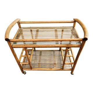Vintage Mid-Century Bamboo Bar Cart With Glass Shelves For Sale