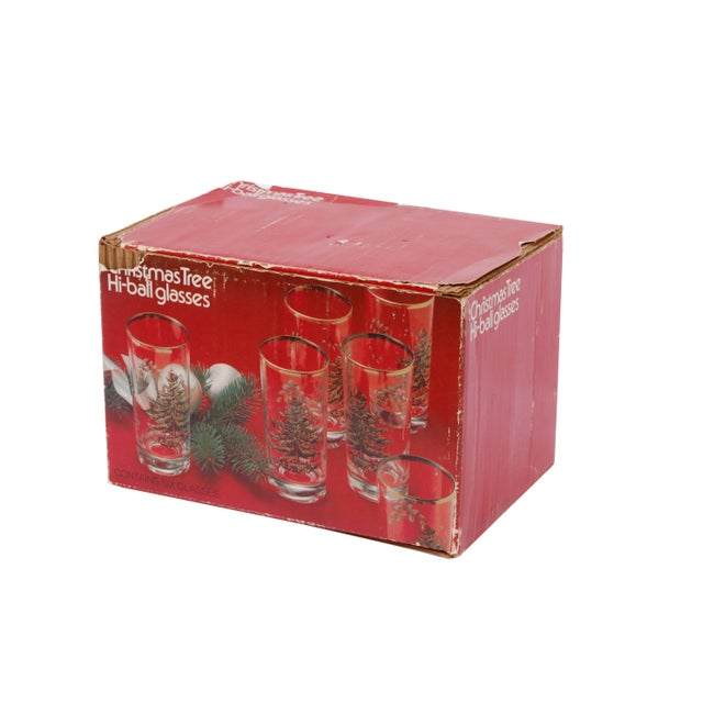 Late 20th Century Vintage Christmas Tree Glasses - Set of 6 For Sale - Image 5 of 6