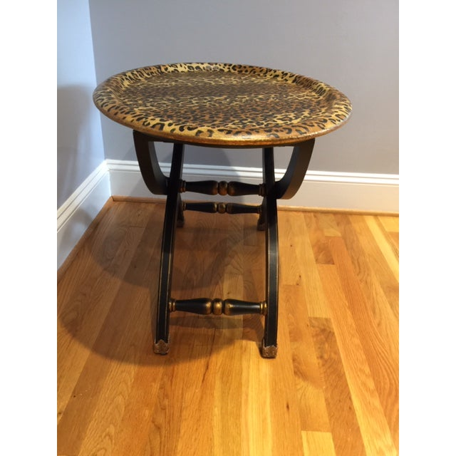Contemporary 1980s Contemporary Sarreid Animal Print Tray Table For Sale - Image 3 of 12