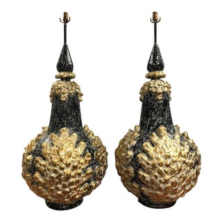 Pair of Monumental Midcentury Black and Gold Lamps