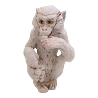 1970s Hollywood Regency White Glazed Ceramic Monkey Statue