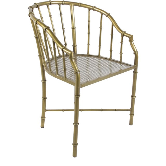 Chinoiserie Brass Bamboo Arm Chair For Sale