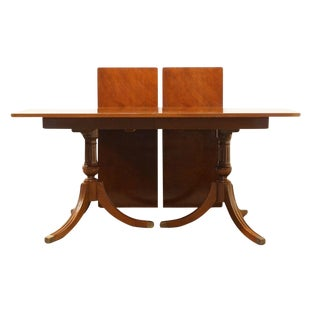 20th Century Traditional Rway Furniture Duncan Phyfe Double Pedestal Dining Table For Sale