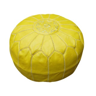 Yellow Moroccan Leather Pouf For Sale
