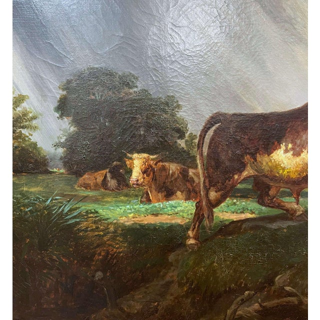 Mid 19th Century 19th Century French Oil on Canvas Cow Painting in Carved Gilt Frame For Sale - Image 5 of 13