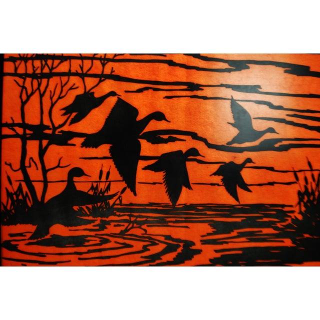Vintage Orange Water Fowl Artwork - Image 4 of 10