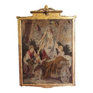 Antique French Needlepoint Tapestry in Gilt Frame For Sale