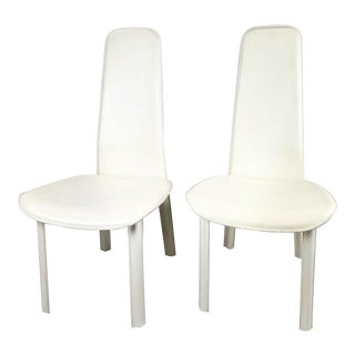1980s Vintage Cidue White Italian Leather Low Slung Chairs - a Pair For Sale
