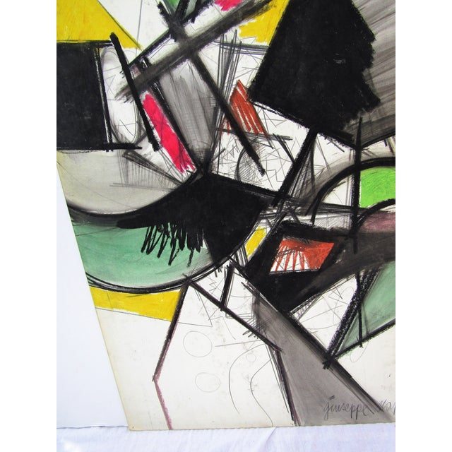 1960s 1961 Vintage Giuseppe Napoli Abstract Modern Painting For Sale - Image 5 of 6