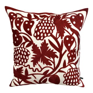 "20"" Embroidered White & Red Floral Pillow With Down Filling"
