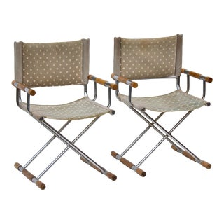Chrome Director's Chairs After Cleo Baldon, Pair For Sale