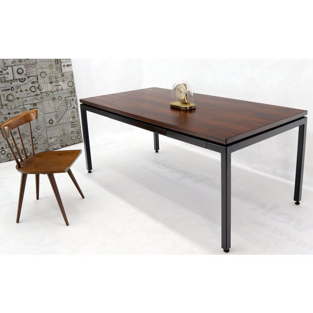 Mid century modern rosewood top ebonies frame two drawers desk writing table by Dunbar. Could be used a dining table...