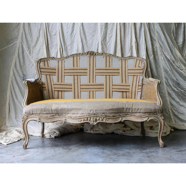 Early 20th Century Vintage Louis Reupholstered Settee For Sale - Image 5 of 7
