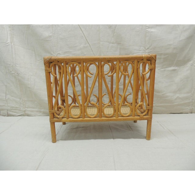 Late 20th Century Vintage Bamboo Rectangular Shape Magazine Rack For Sale - Image 5 of 5