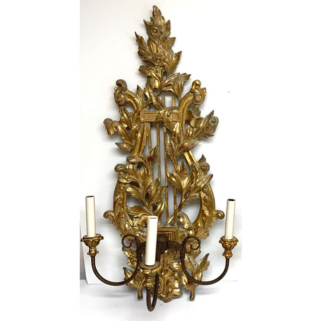 Neoclassical Pair of French Carved Giltwood Lyre Motif Three Light Wall Sconces For Sale - Image 3 of 10
