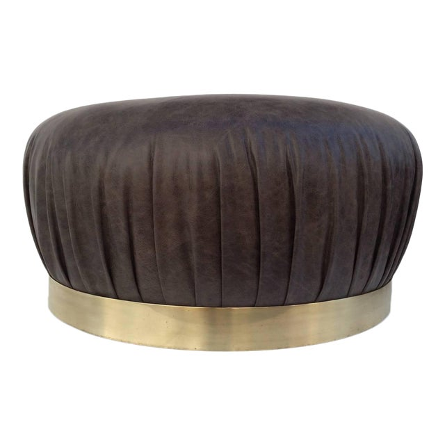 Large-Scale Leather and Brass Ottoman by Karl Springer - Image 1 of 6