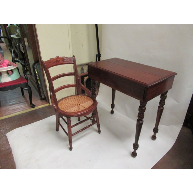 1930s Children's Spinet Flip Top Walnut Writing Desk with Caned Chair For Sale - Image 13 of 13