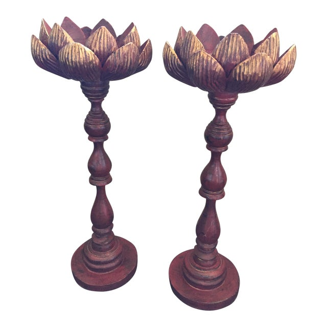 Hand Carved Lotus Candlesticks - A Pair For Sale