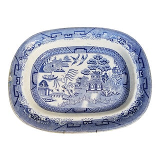 Antique Blue and White Platter For Sale